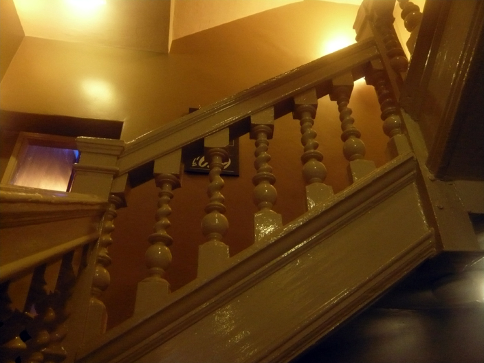 A staircase in the Library bar on Saddler Street (the extension of the Bailey), almost certainly contemporary with the one at St Cuthbert's Society, and perhaps made by the same craftsmen.