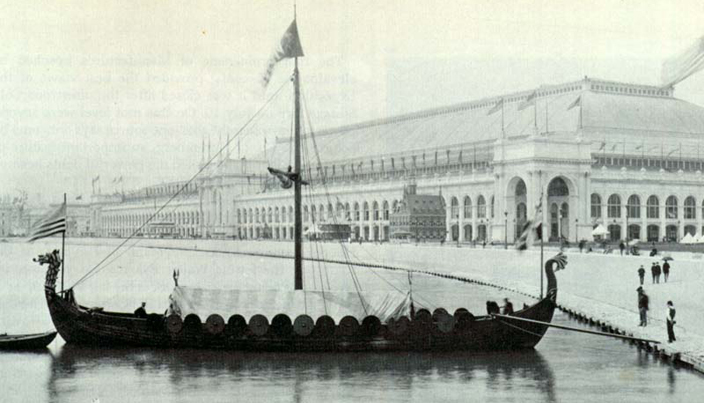 A Replica of the Viking Gokstad Ship, seen at the Chicago exhibition of 1893. The original ship dates from the end of the ninth century.