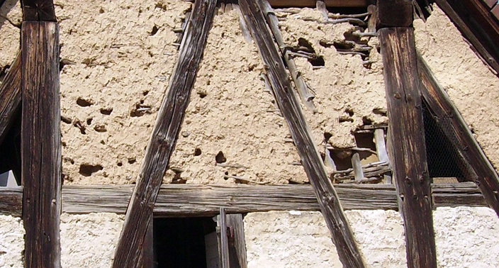 Detail of a building constructed using wattle and daub. The 'White Church' probably looked like this.