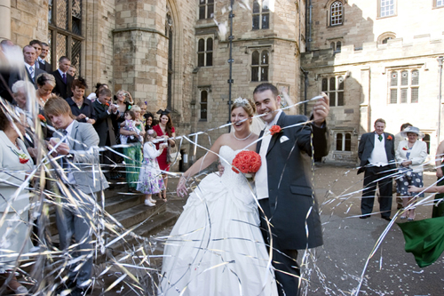 A happy couple celebrating their wedding in the Castle in summer 2010. Not surprisingly, it is a popular wedding venue both for families with a link to the college and university, as well as to residents of the county alike.