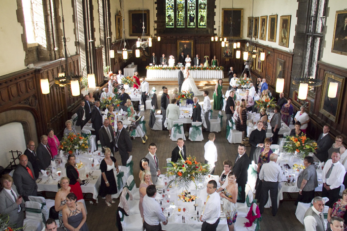 The Castle Great Hall, seen here during a wedding reception. The format of the hall, with the top table higher than the rest, has probably not changed since medieval times when the hall was built.