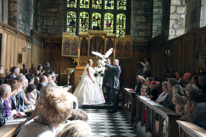 A wedding ceremony in the Tunstall Chapel, constructed in the 16th century and the newer of the Castle's two chapels.