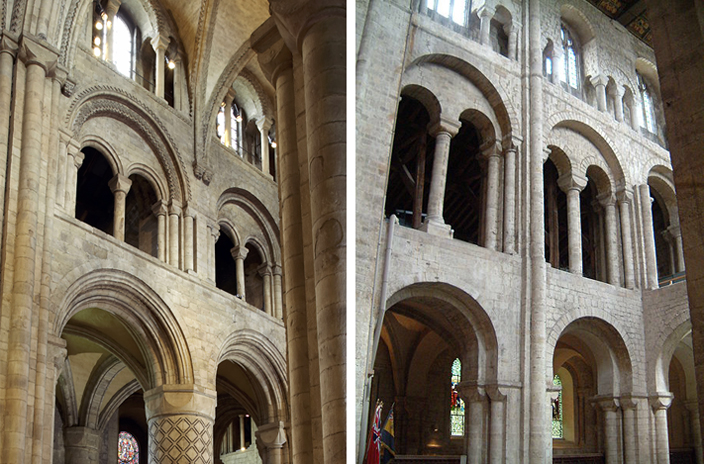 Interior views of the cathedral of Durham (left) and Winchester (right). Although Winchester is slightly simpler, the similarilities between the two buildings is remarkable.