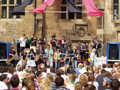 Colleges have an wealth of talent, in sport, music and the arts. Here, Castle Band entertains the JCR.