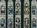 The Te Deum Window. This window was unveiled in 1869 in memory of Charles Thorp, Archdeacon of Durham, who was instrumental in the foundation of Durham University in the 1830s. The window cost £650 and incorporates some fragments of medieval glass in its upper sections.