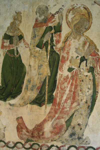 The 15th century wall painting recently discovered under later layers of paint in the Deanery vestibule, formerly the prior's chapel.