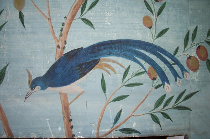 Detail of the Chinese wallpaper in the Solarium, Durham Deanery.
