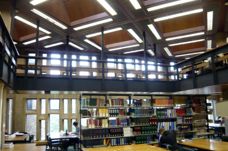 Interior view of the library building designed in 1968 by George Pace.