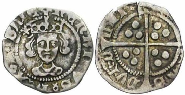 A silver penny issued in between 1527 and 1530 by Bishop Thomas Langley. This was during the first reign of King Henry VI.