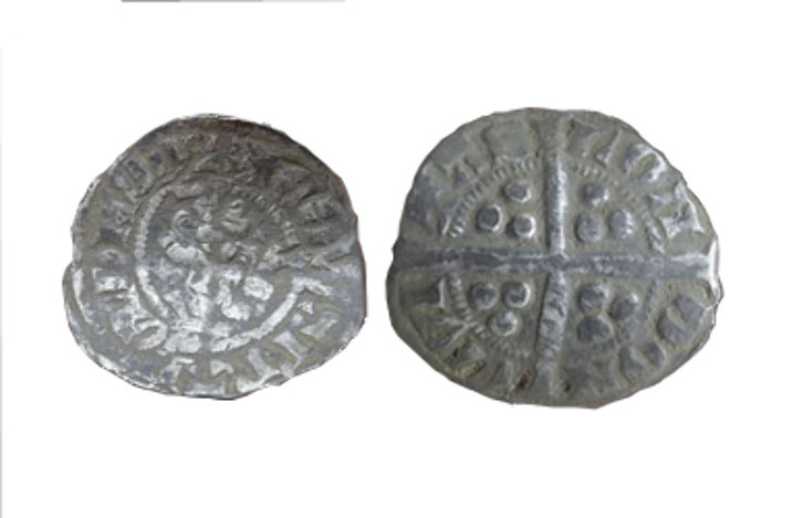 A penny issued in 1272 by Bishop Robert Stitchill. This was during the reign of Edward I.  The inscription reads CIVITAS DUREME (City of Durham).