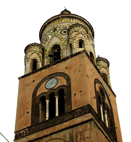 The belltower of Amalfi Cathedral, similar to Durham Cathedral because of its intersecting arches and lozenge patterns