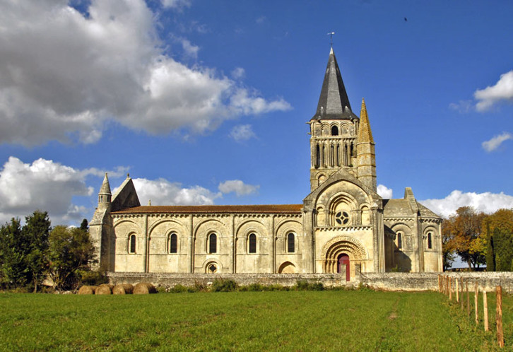 Exterior view of the Church of St. Pierre, Aulnay, France