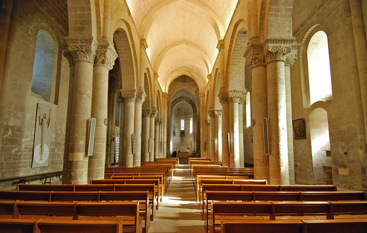 Interior view of the church of St. Pierre, Aulnay, France.