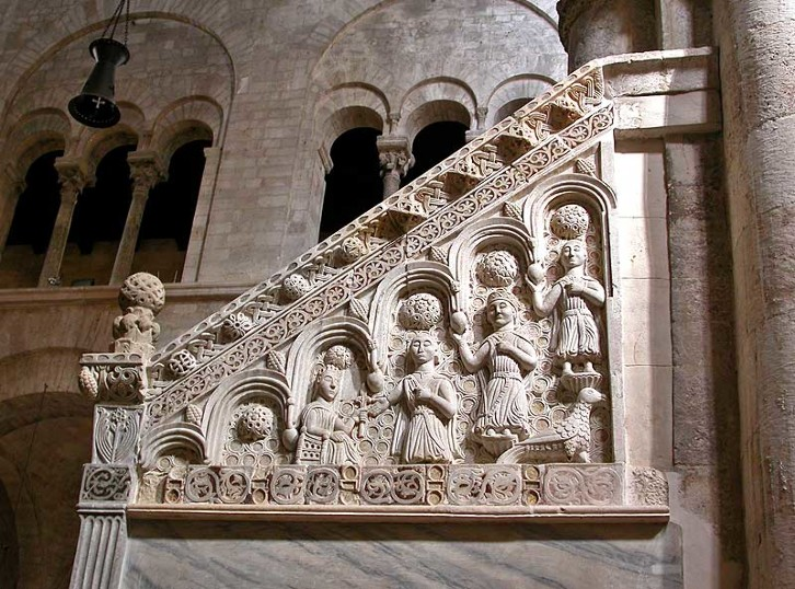 The pulpit of Bitonto Cathedral, Puglia, Italy. 12th century.
