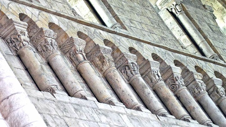 Detail of the choir of Fleury Abbey, an excellent example of figural carving that appeared frequently in religious Romanesque buildings in France and Italy