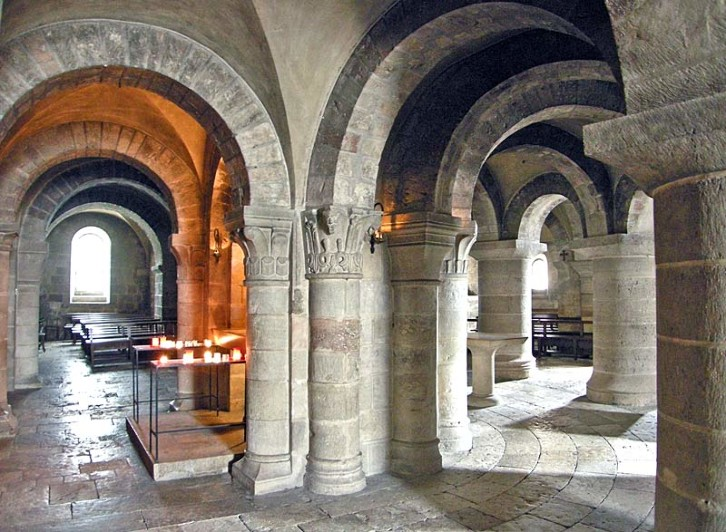 Romanesque undercroft at Fleury Abbey. The similarities between undercrofts such as this one and the Norman Chapel at Durham Castle, has led some to suggest that the latter is an undercroft itself. Historic accounts suggest that it was not, however.