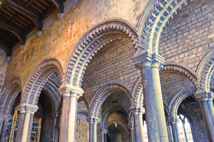 Arcades of the Galilee Chapel, Durham Cathedral, 12th century. The graceful arcades of the Galilee Chapel at Durham Cathedral were possible, because unlike the rest of the building, they do not support a heavy or massive superstructure. In inspiration, they seem to draw much from the architecture of Muslim Spain.