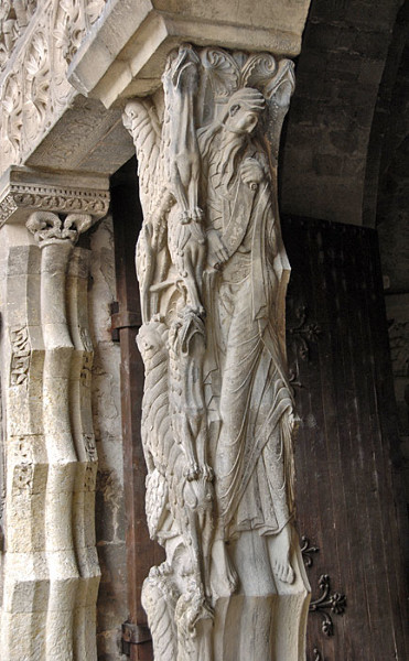 Detail of the stone pier in the doorway of the Abbey of St. Pierre de Moissac, France, circa 1100. The carving depicts St. Jeremiah, and is remarkably well preserved. Both the detail, and the expressive manner in which the scene is depicted, indicate that the sculptor was truly a master. It is thought that he also worked in Spain, at the monastery of St. Domingo de Silos.  Then as now, exceptionally talented individuals were much sought after, and thus applied their skills around the world.
