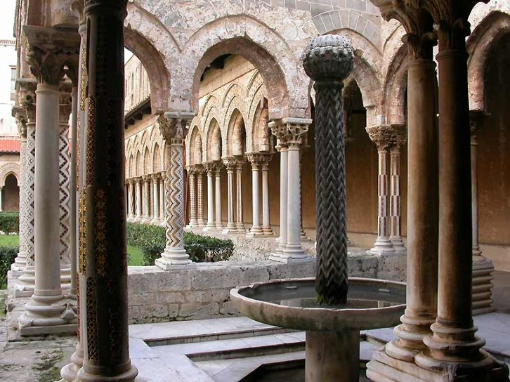 View of the cloisters of Monreale Cathedral, Sicily, late 12th century. The cloisters of Monreale Cathedral make heavy use of the chevron (zigzag) design, which appears in Durham Cathedral as well.