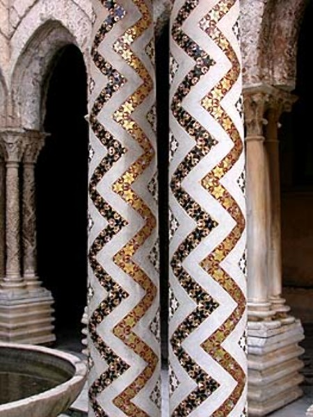 Detail of the columns in the cloisters of Monreale Cathedral, Sicily, late 12th century. The use of gold mosaic, popular in Byzantine art, never really died out, probably because its effect was so dazzling. In this example, the combination of several geometric patterns indicates a strong Islamic influence.
