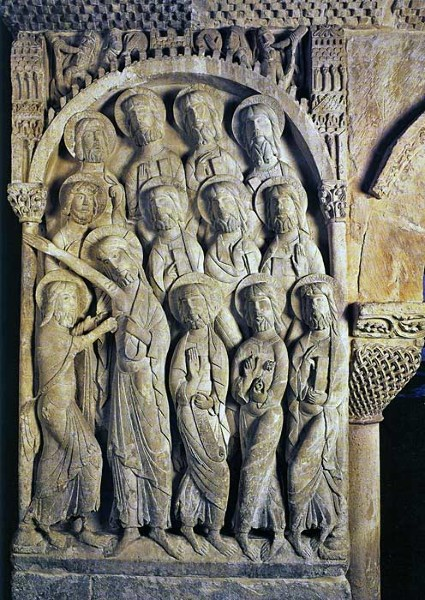 Carved panel from the cloister at the Monastery of Santo Domingo de Silos, Spain, 12th century. The carved panels in this building are thought to be the work of the same craftsman who worked on the Abbey of St. Pierre de Mossaic in France. This is not unlikely: skilled craftsmen moved around from one project to another. Santo Domingo de Silos is on the much-travelled pilgrimage route to Santiago de Compostela in North-East Spain, which was dotted with important religious buildings, and would have been an obvious route for talented craftsmen in search of work to take.