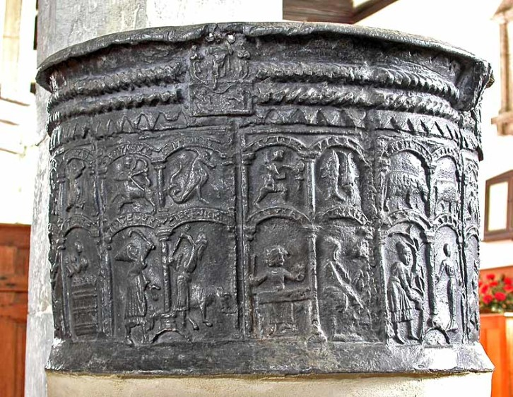 A lead font from the twelfth century in the the church of St. Augustine, Brookland, Kent.