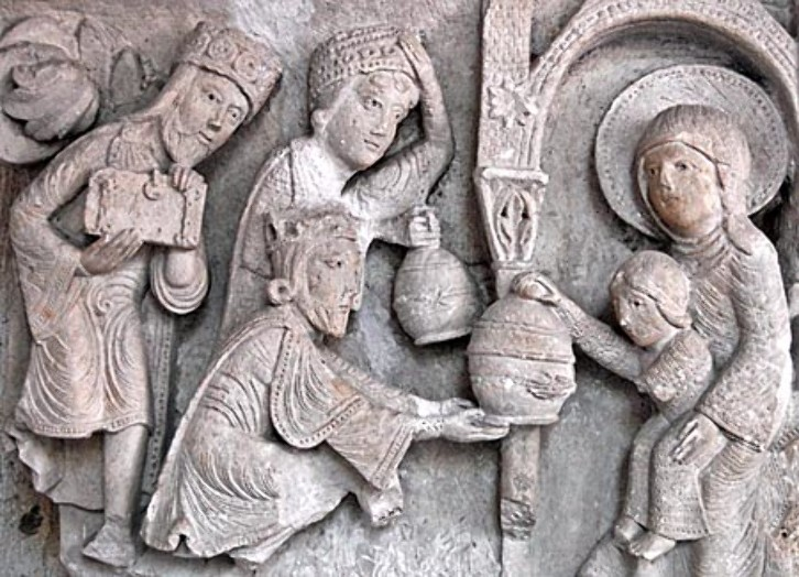The Adoration of the Magi, a stone carving from the cathedral of St. Lazare in Autun, France. Durham Cathedral would have once had similar carvings on the stone screen that stood in the transept.