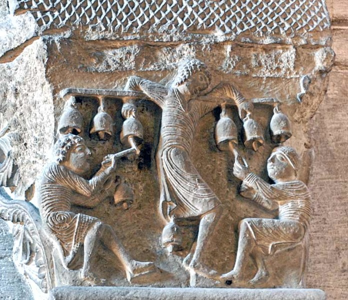 Scene from a capital in the cathedral of St. Lazare, Autun, showing Gregorian Chants being played and sung. These were an important part of church musical traditions.