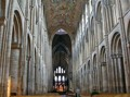 Interior view of the nave of Ely Cathedral, a contemporary of Durham Cathedral. Apart from the painted wooden ceiling at Ely, both naves are very similar.