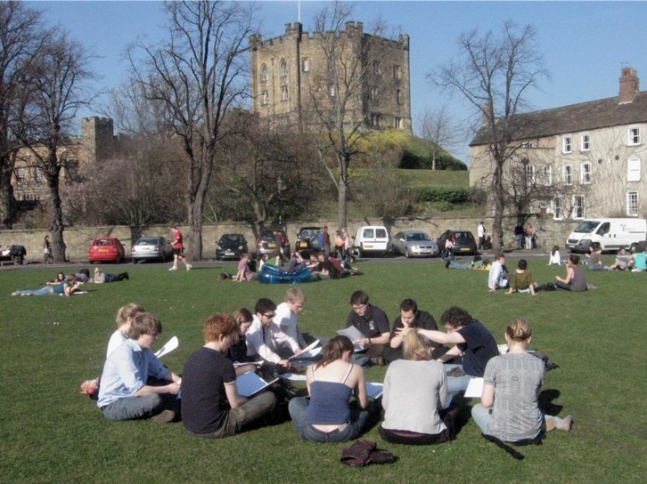 Over 10,000 students live in Durham, and use some part of the World Heritage Site on a daily basis. Here, a choir rehearses on Palace Green.