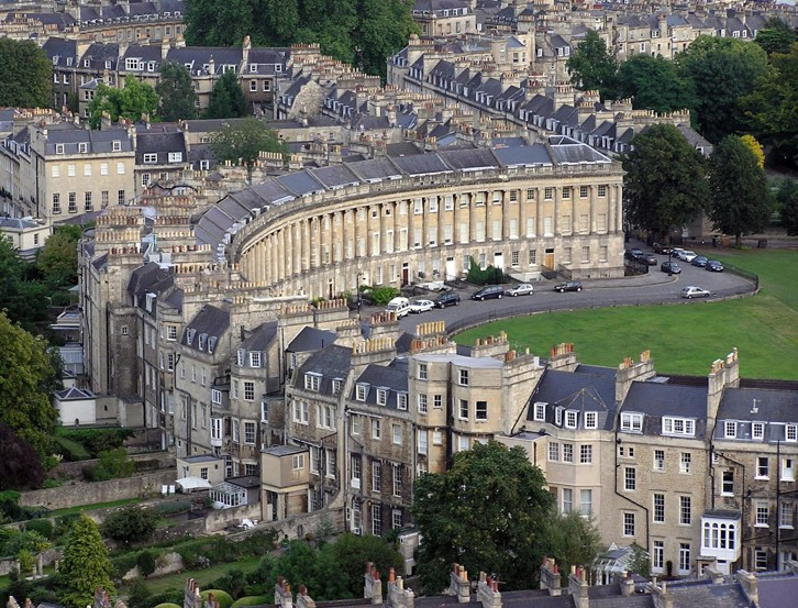 An aerial view of the Royal Crescent, City of Bath