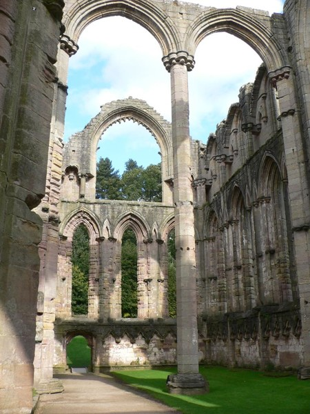 The ruins of Fountains Abbey, part of Studley Royal Park, North Yorkshire